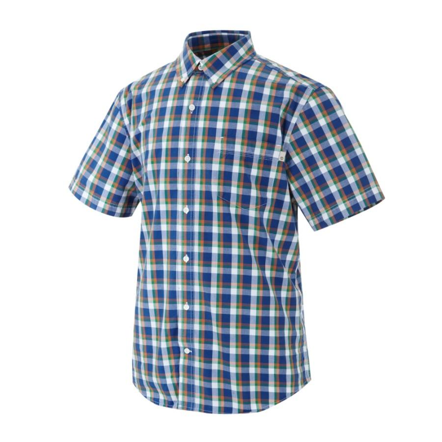 [A19MT] 남성 체크 패턴 반팔 셔츠- 블루