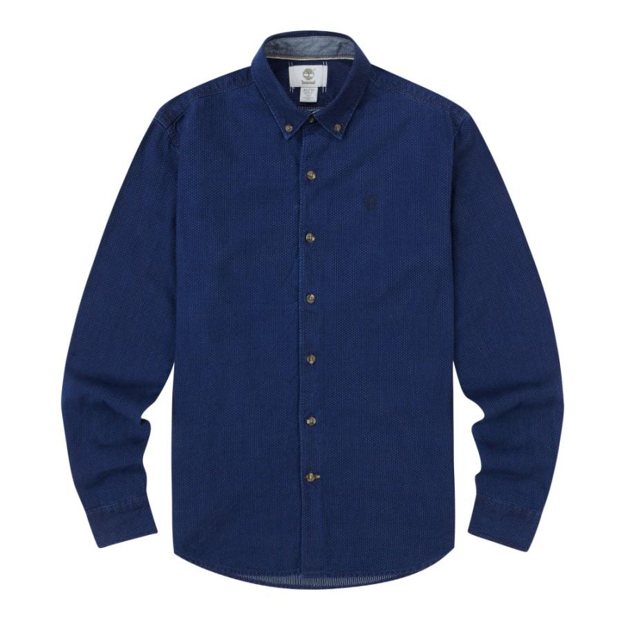 [A1FKR]남성 인디고 패턴 셔츠 슬림핏- 데님