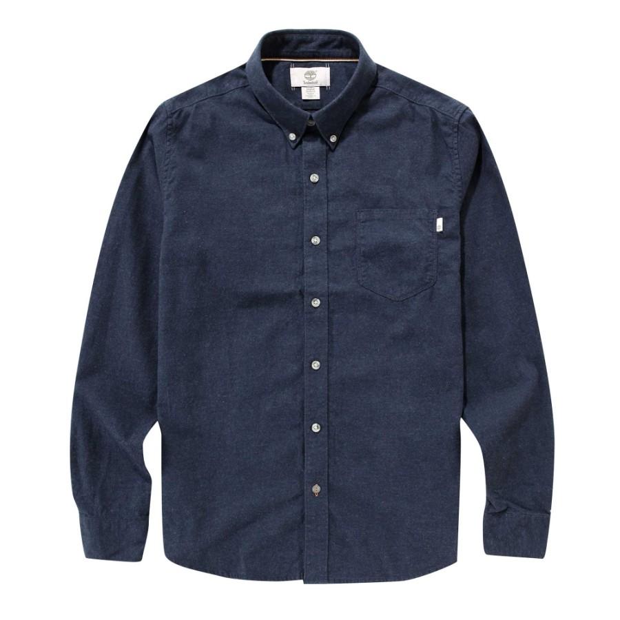 [A1FO8] 긴팔 슬림핏 격자무늬 트윌 셔츠 - 블루