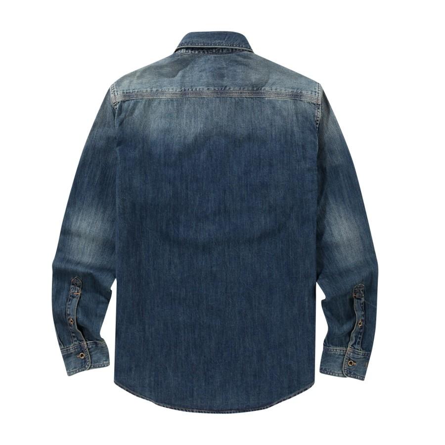 [A1FOJ] 긴팔 뭄포드 리버 데님 셔츠 - 오션 블루