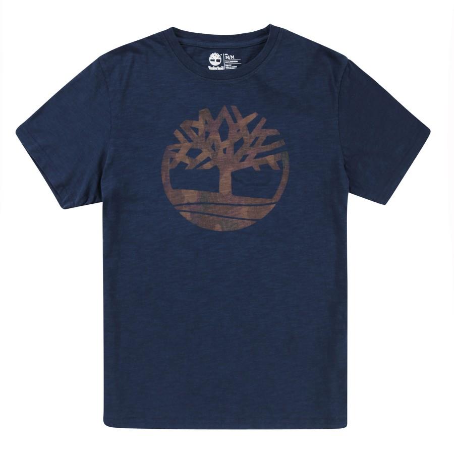 [A1H5H] 남성 카모 트리 로고 티셔츠- 블루