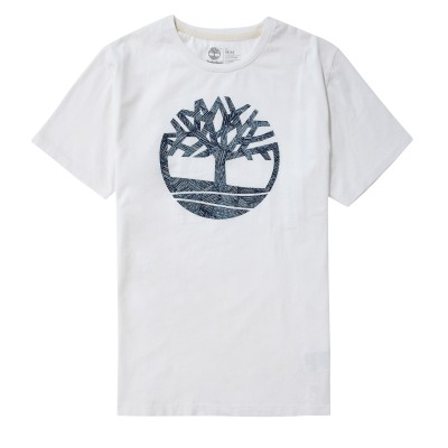 [A1MI4] 남성 블루 트리 로고 티셔츠- 화이트