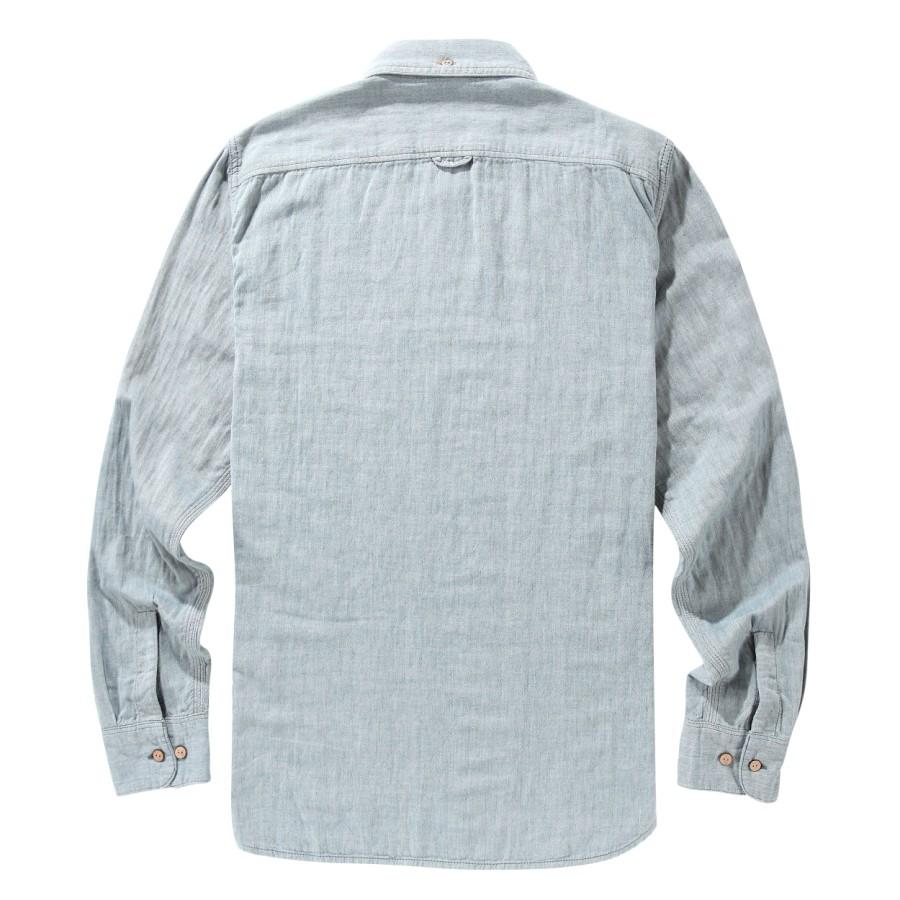 [A1FOU] 남자 더블 레이어 셔츠 슬림핏 - 블루