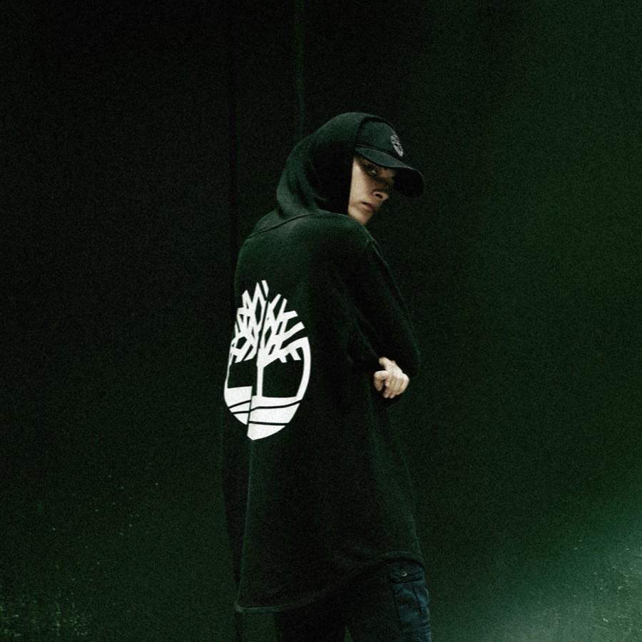 [A1LBP] 남성 루즈핏 트리 로고 후드- 블랙