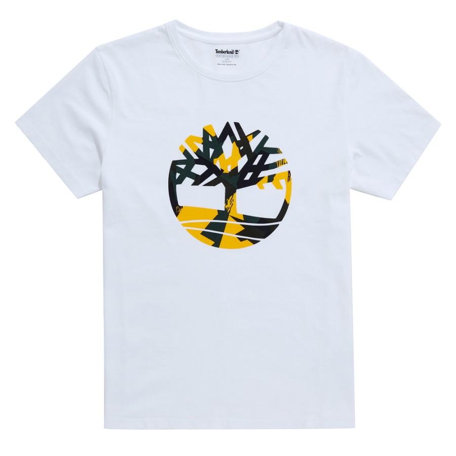 [A1M18] 케네백 리버 시즈널 패턴 브랜드 슬림티 - 화이트