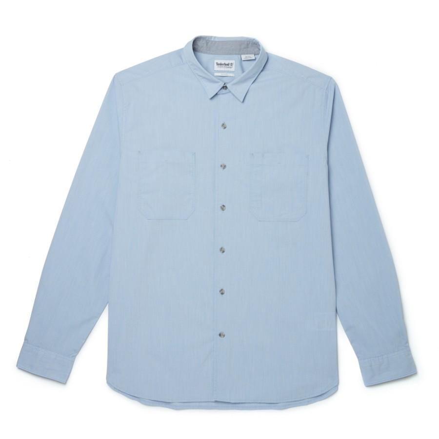 [A1NN4] 남성 샴브레이 고급 소재 슬림셔츠 - 스카이블루