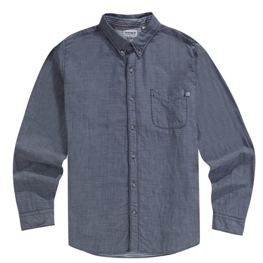 [A1UN4] 남성 긴팔 더블 레이어 솔리드 셔츠- 블루