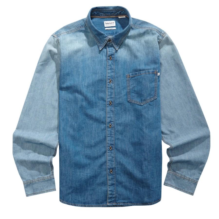 [A1UPM] 남성 긴팔 리버 데님 셔츠-블루