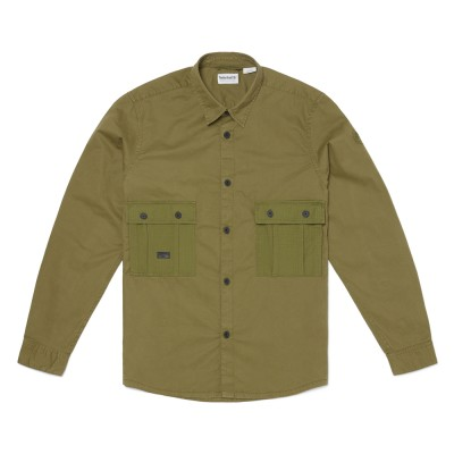 [A219U] 카고 오버사이즈 셔츠 - 애쉬카키