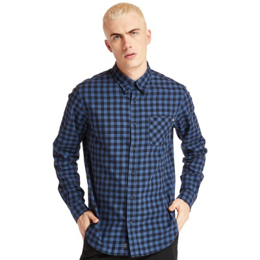[A29N8] 남여공용 TOMF 체크 셔츠 - 블루
