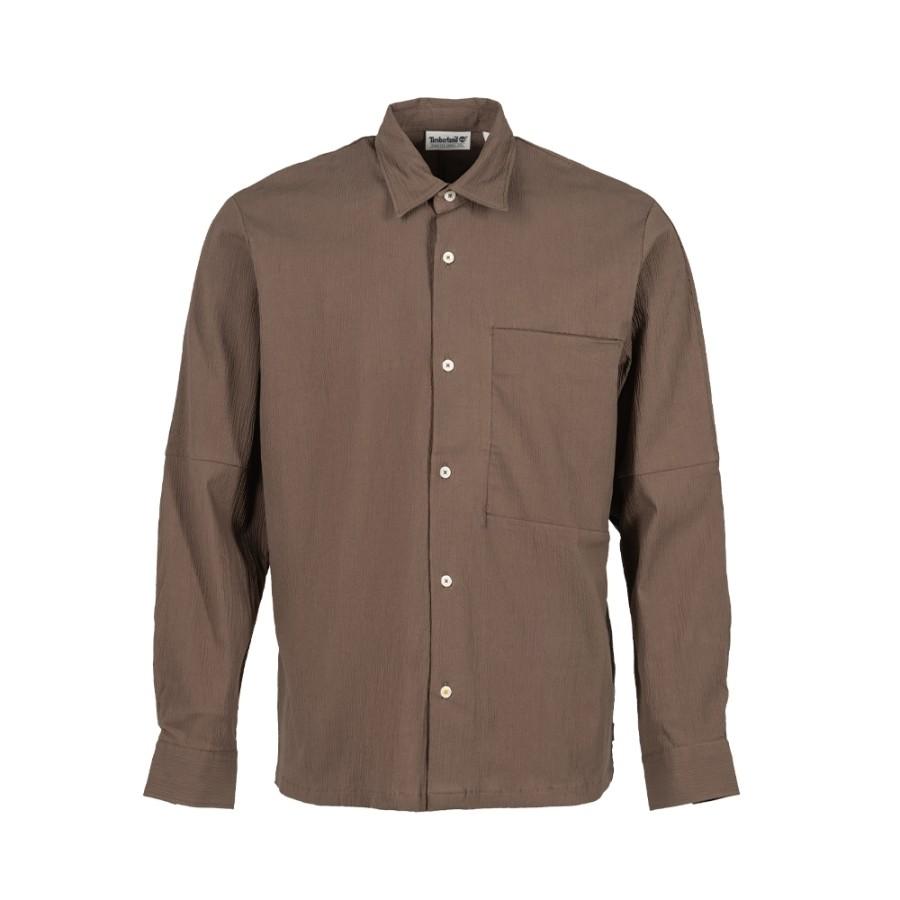 남성 체스트포켓 오버 셔츠 - 초콜릿브라운(A2DD4)