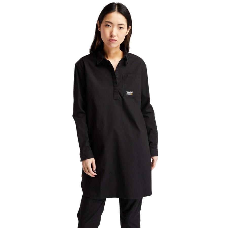 여성 워크웨어 Overshirt Dress - 블랙(A2GEQ)